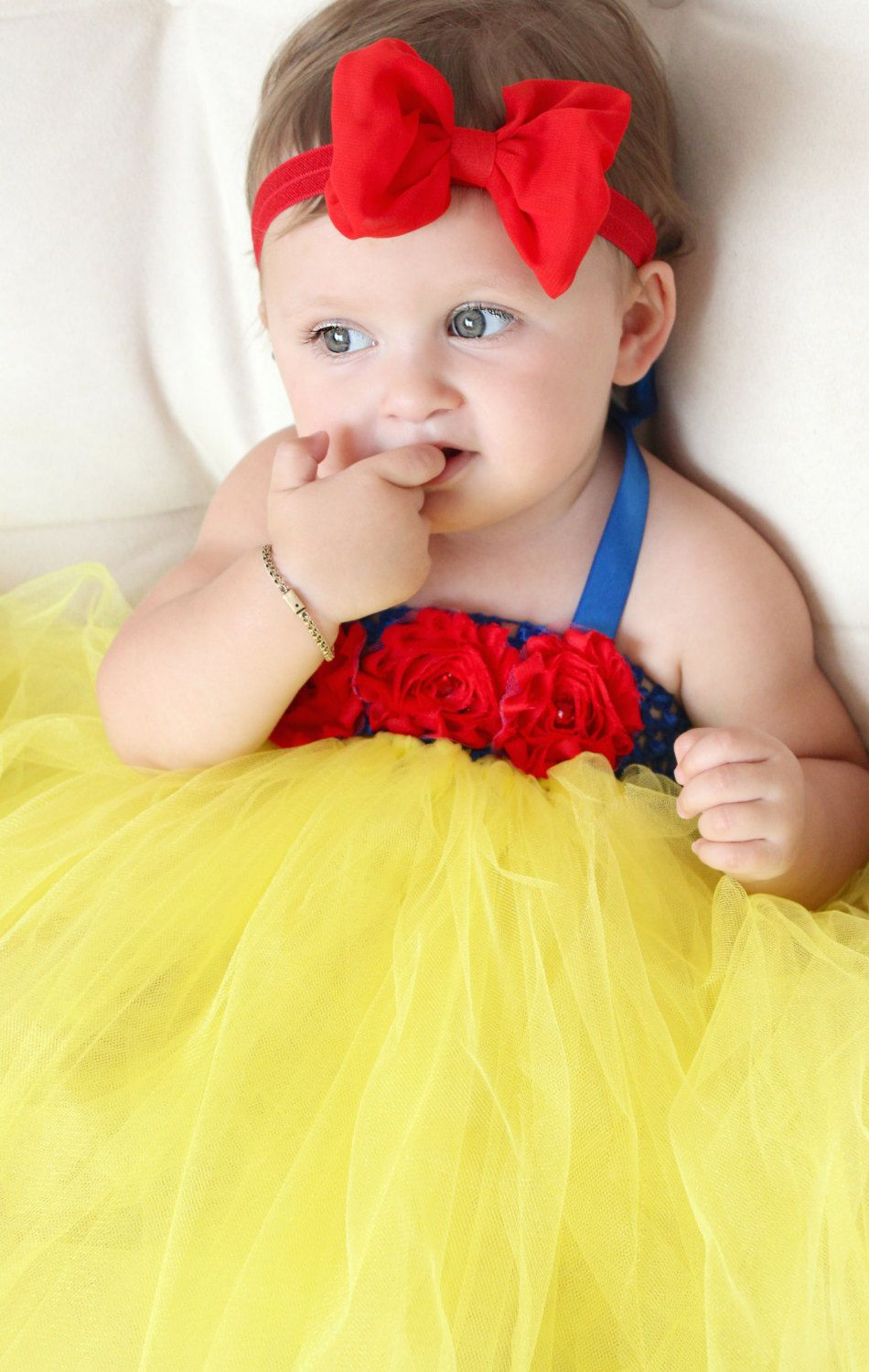 Beautiful Snow White Tutu Dress Costume with Red Hair Bow
