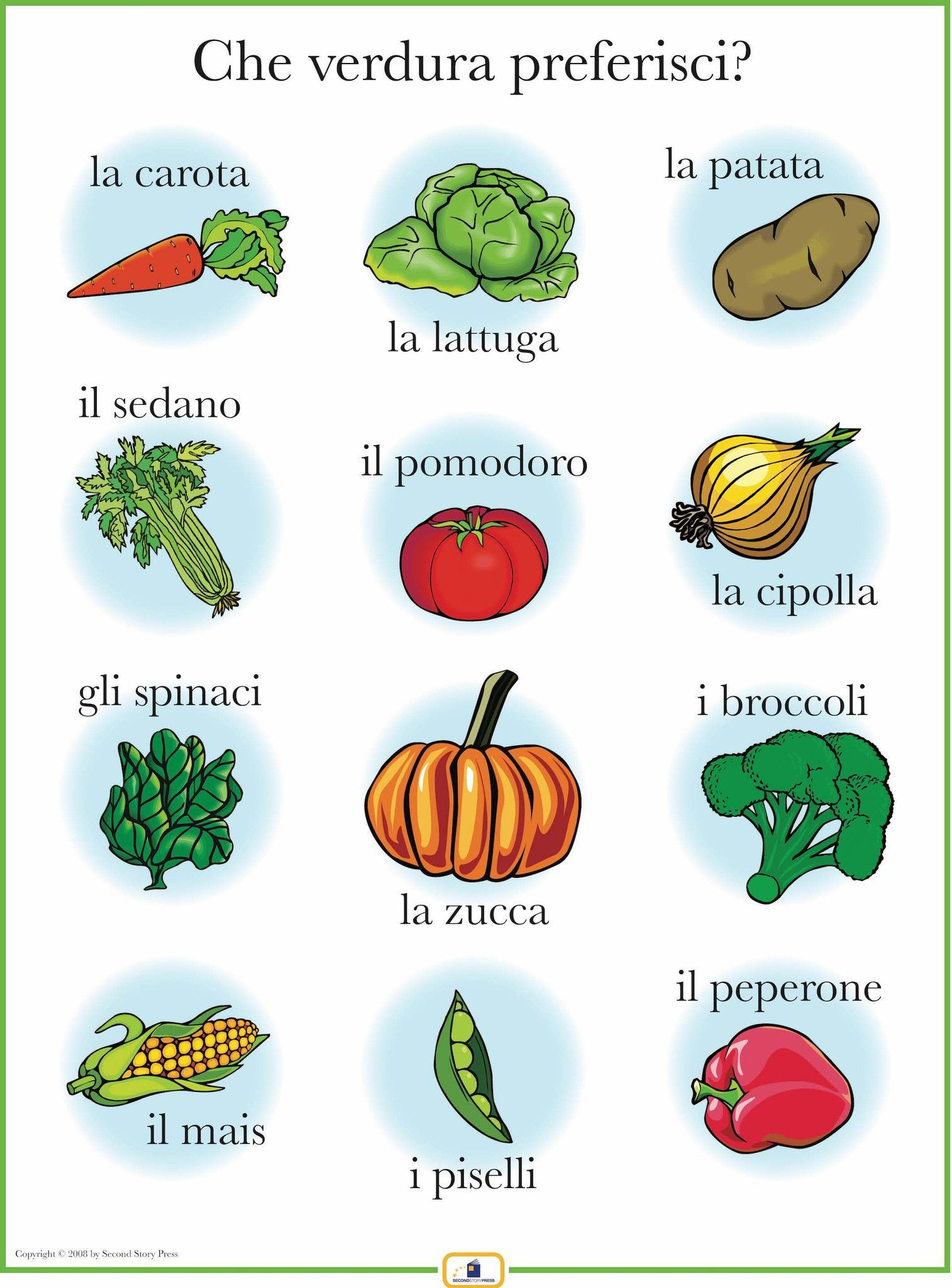 Italian Vegetables Poster Worksheets, Free and Language
