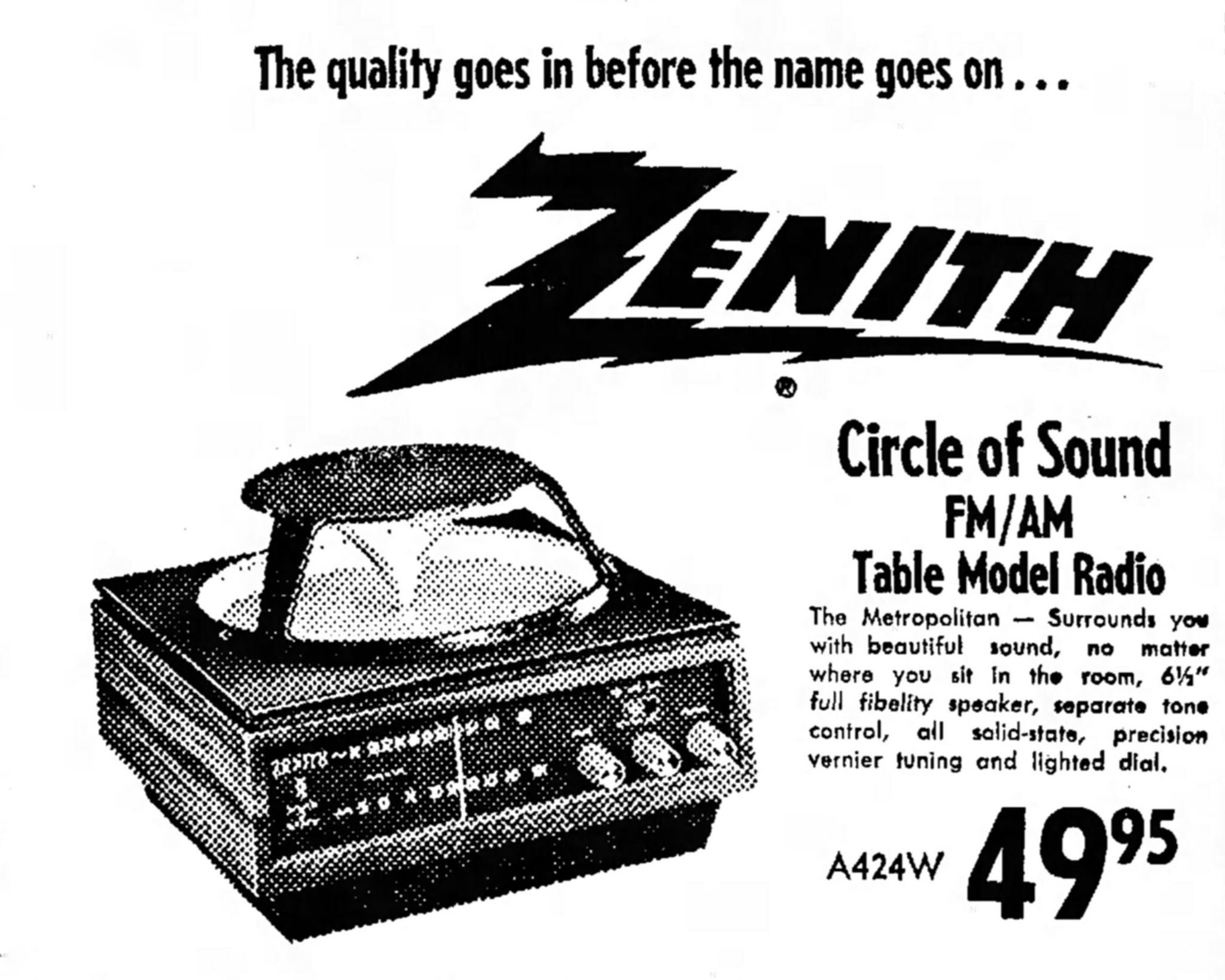 Vintage Newspaper Advertising For The Zenith Metropolitan