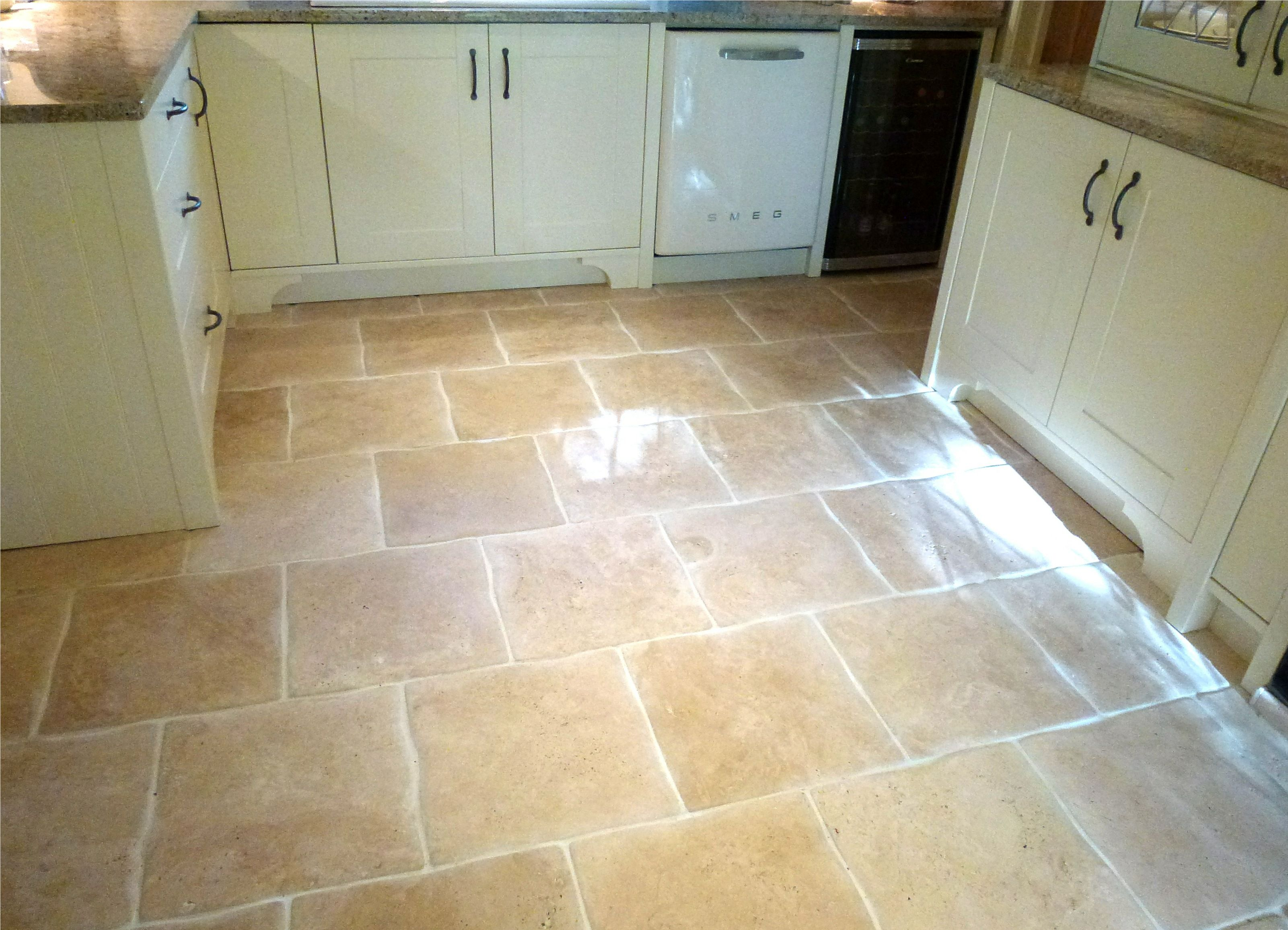 Wavy edge travertine kitchen floor tiles Kitchen Tiles