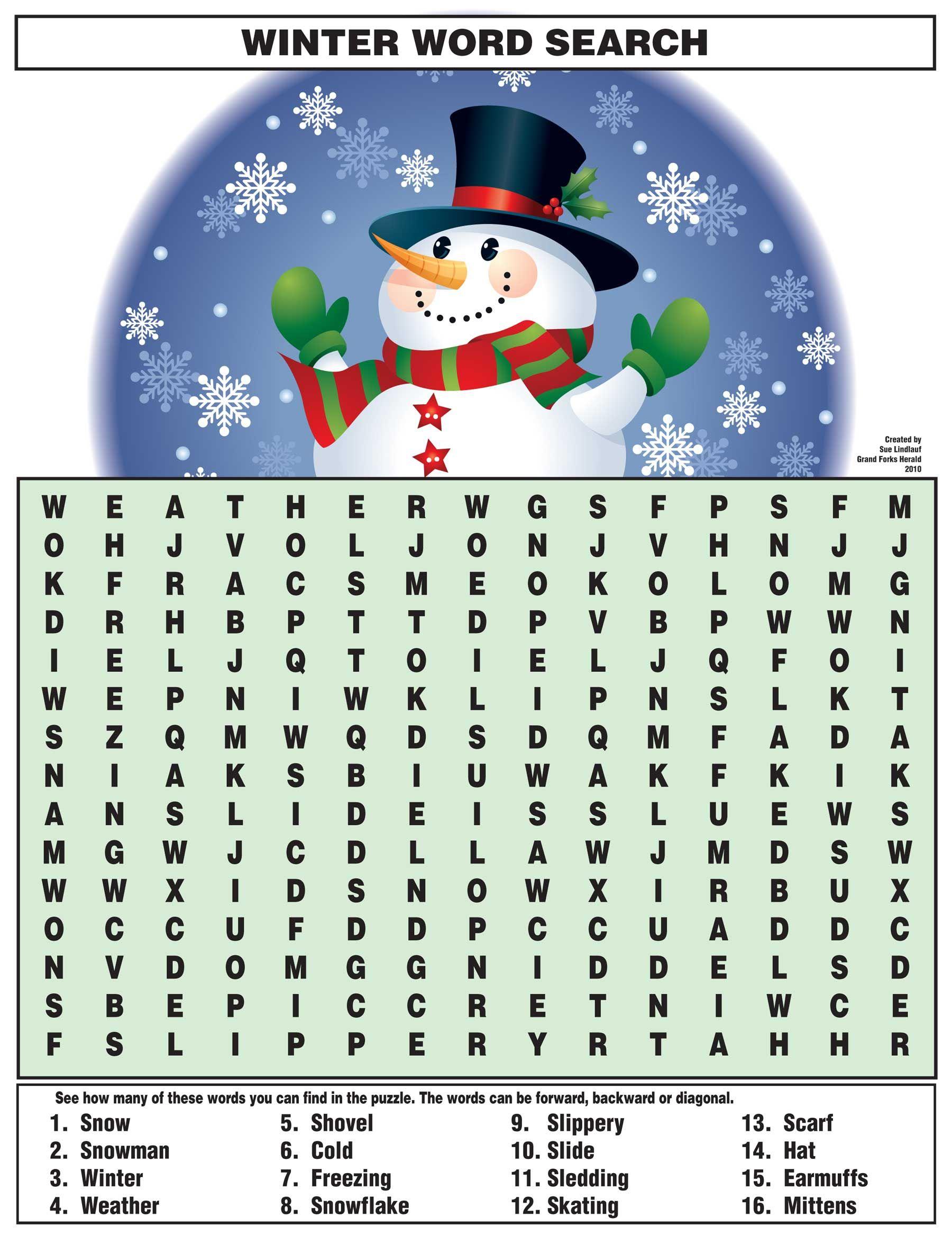 Winter Word Search https//www.djs.durban … Pinteres…