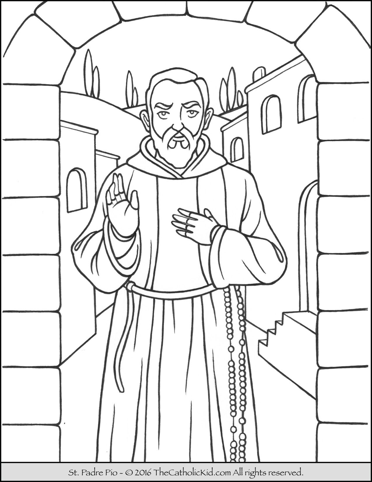 Saint Padre Pio Coloring Page