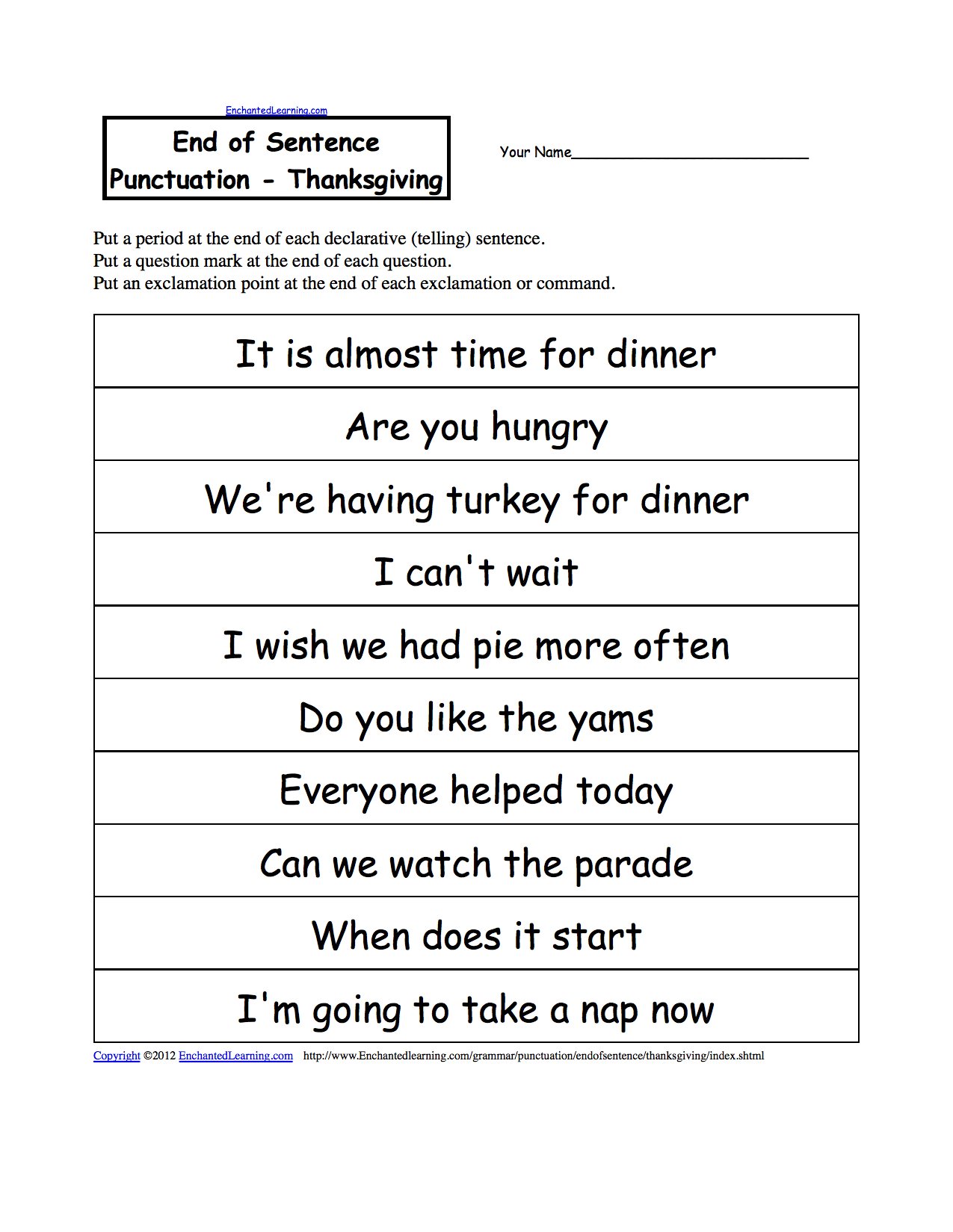 End Of Sentence Punctuation Thanksgiving