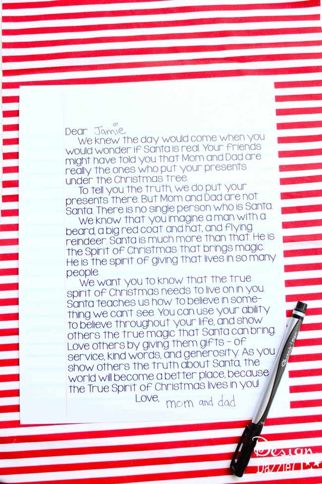 A Letter to Kids Santa is Real Free printable, Carrie