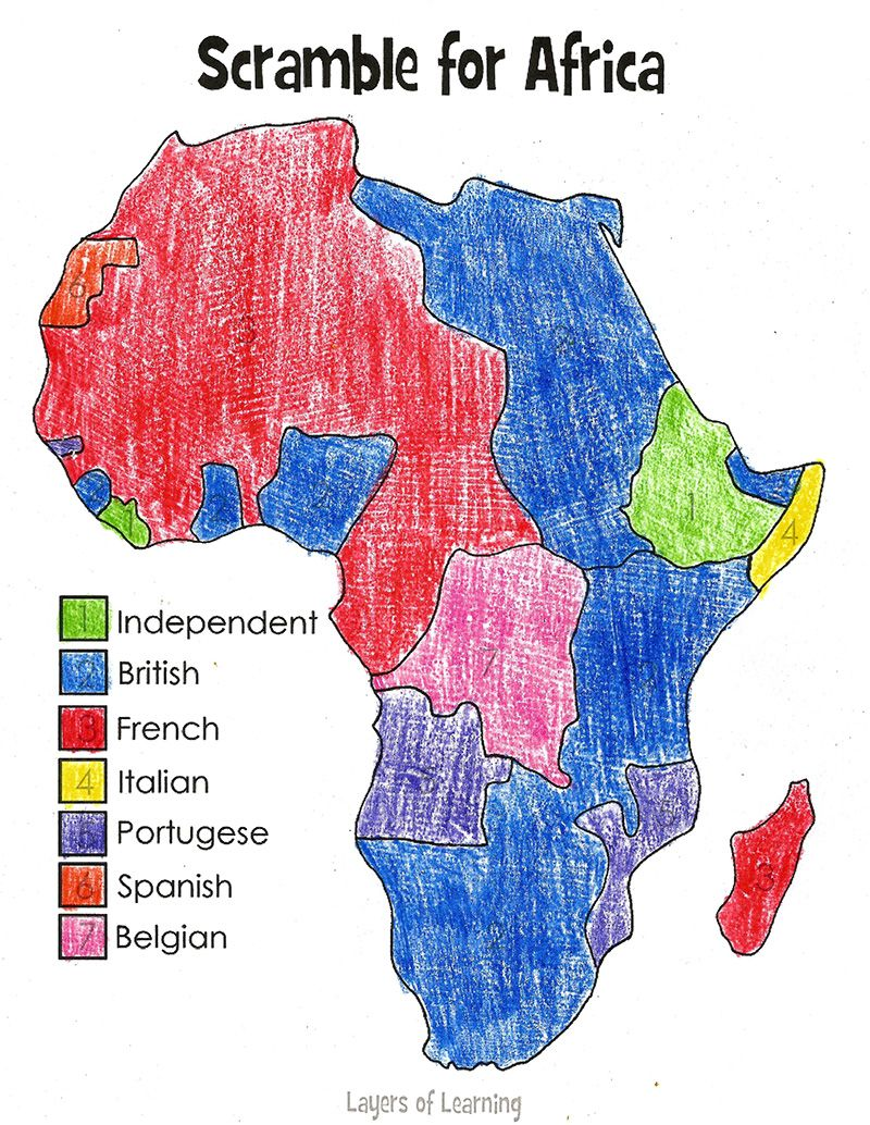 A map to print and color of the Scramble for Africa