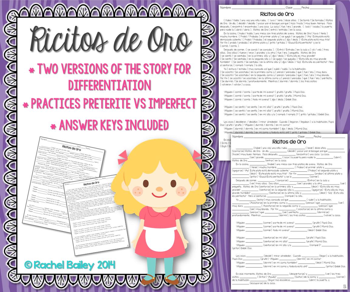 Preterite Vs Imperfect Story Worksheet Ricitos De Oro