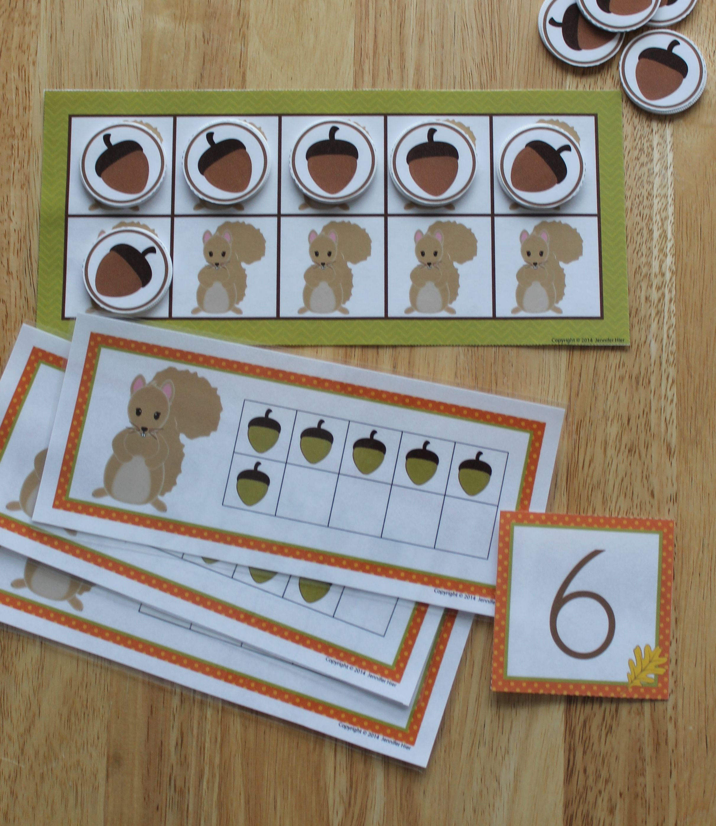 Fall Math Activities Squirrel Five And Ten Frame Fun For Preschool And Ece