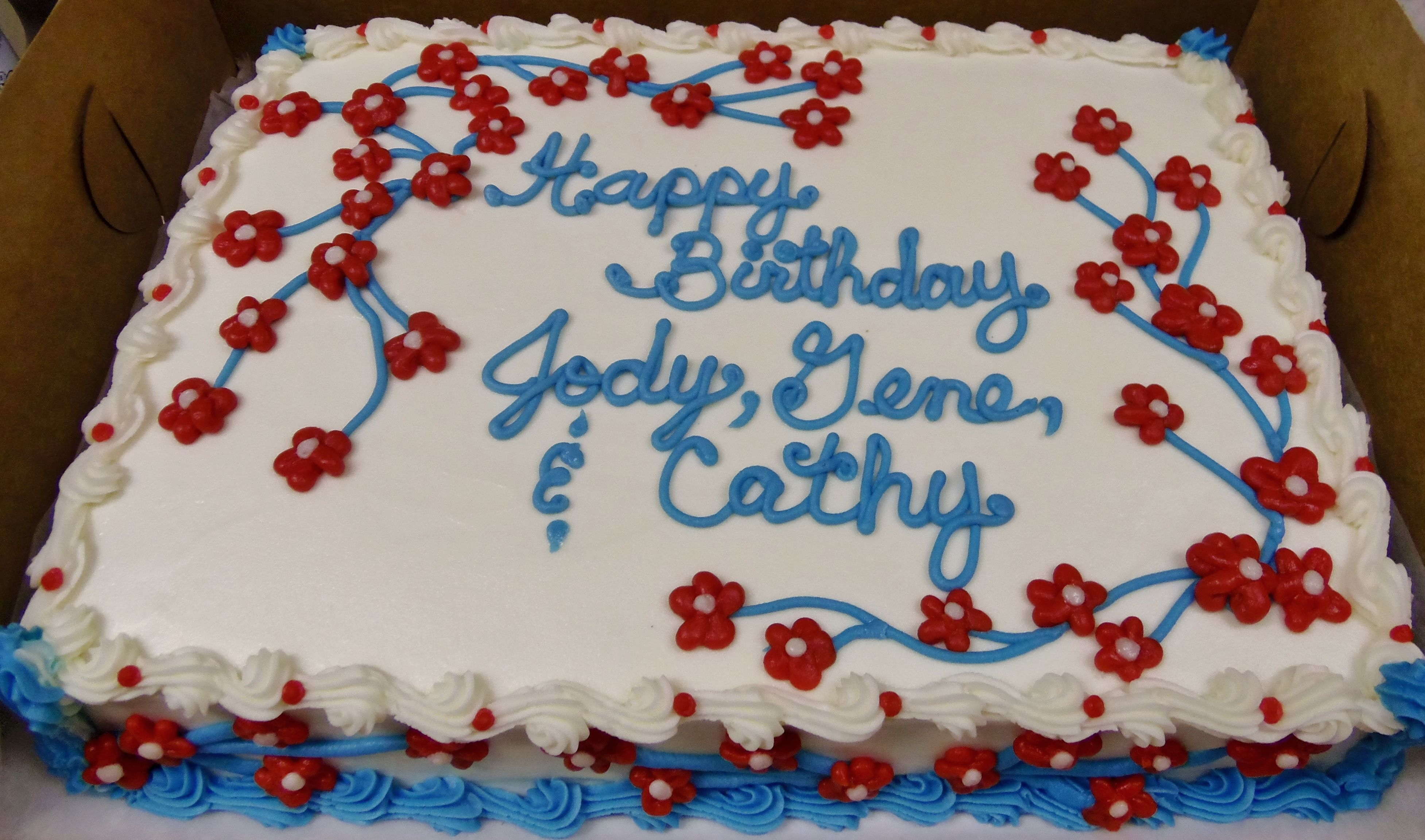 Red White Amp Blue Buttercream Flowers And Branches On
