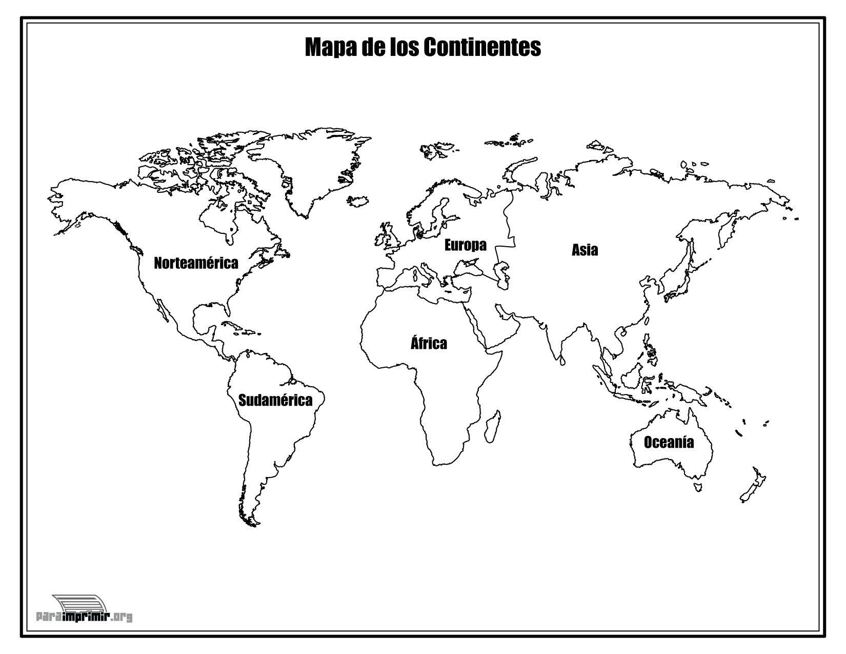 Mapa De Los Continentes Con Nombres Para Colorear Y Para Imprimir