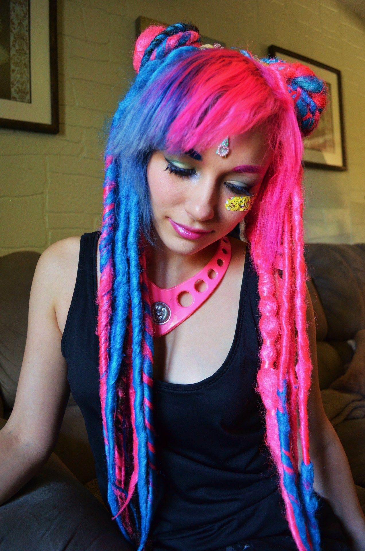 Electric blue and hot pink synthetic dreadlocks Extreme