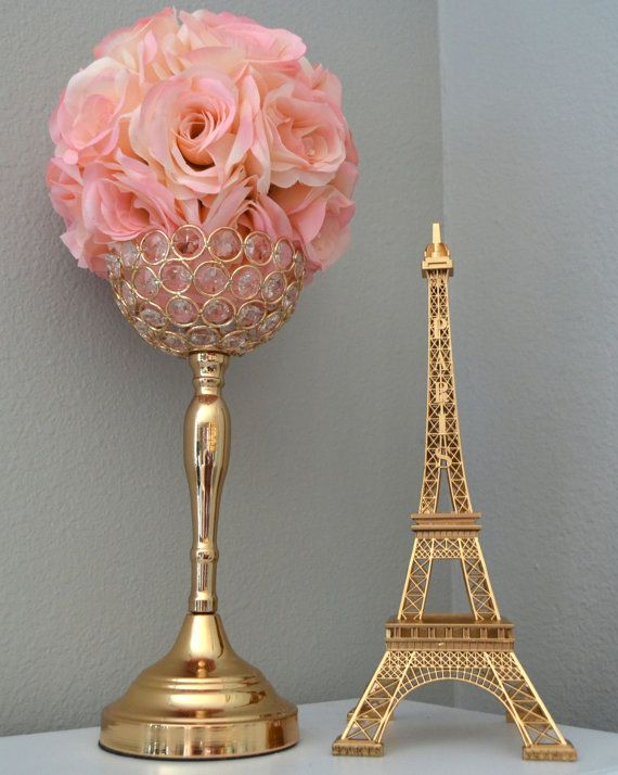 GOLD Eiffel Tower Centerpiece. Parisians Theme Decor. Paris Wedding Decor. French inspired centerpiece