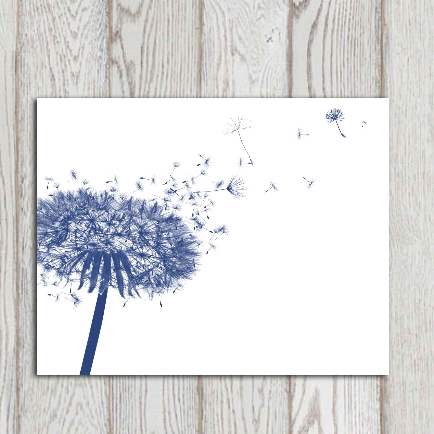 Dandelion Decor Print Navy Blue Home Decor Navy Bedroom