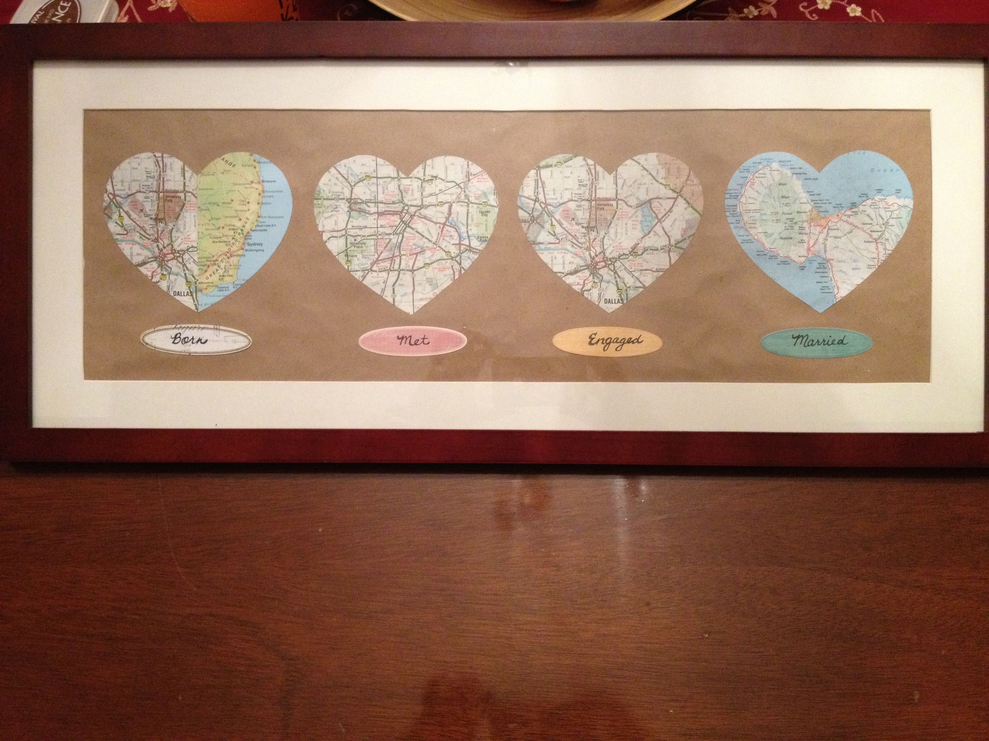 Born, met, engaged, married map cutouts for the bride