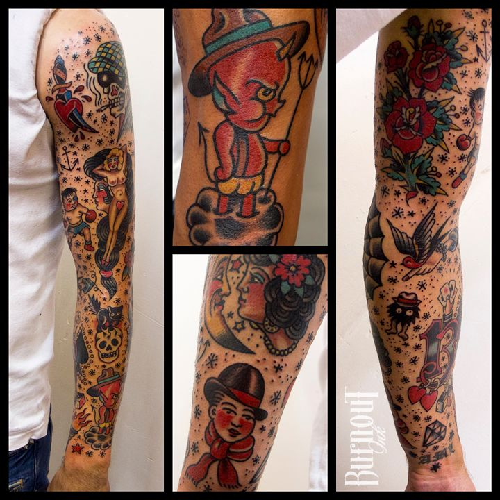 BURNOUT INK Full Sleeve Traditional Style tatto ideas