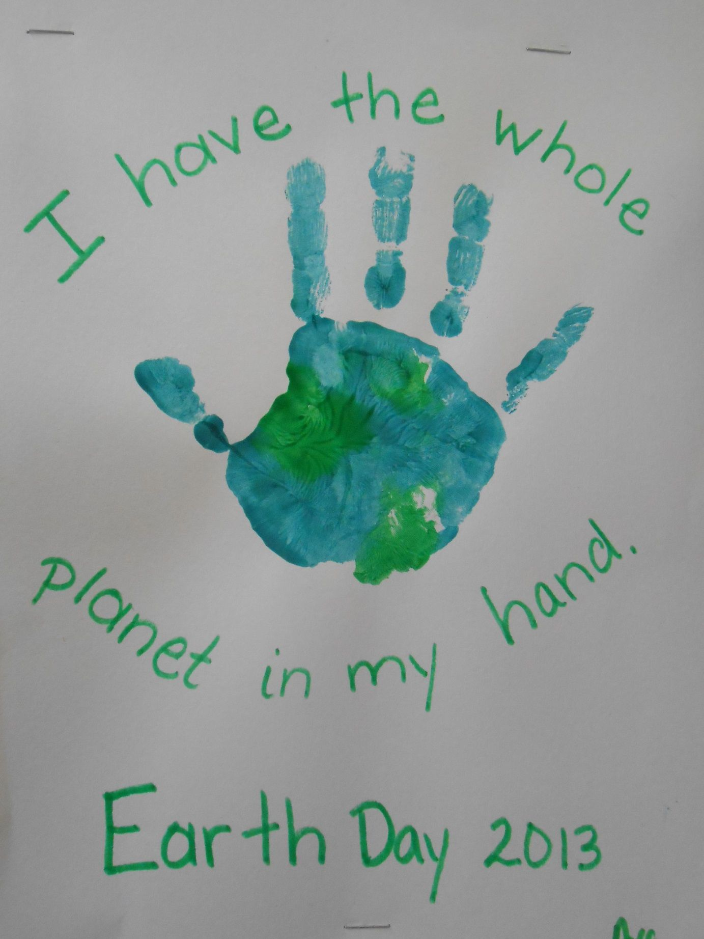 Earth Day Hand Painting Project Preschool