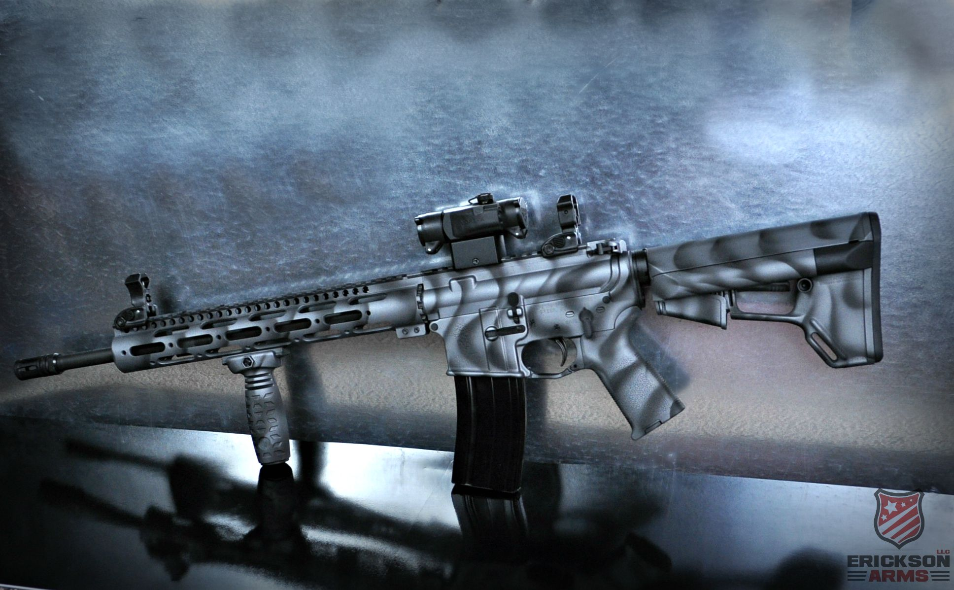 AR 15 In 2 Tone Freehand Pattern Using Tactical Grey And