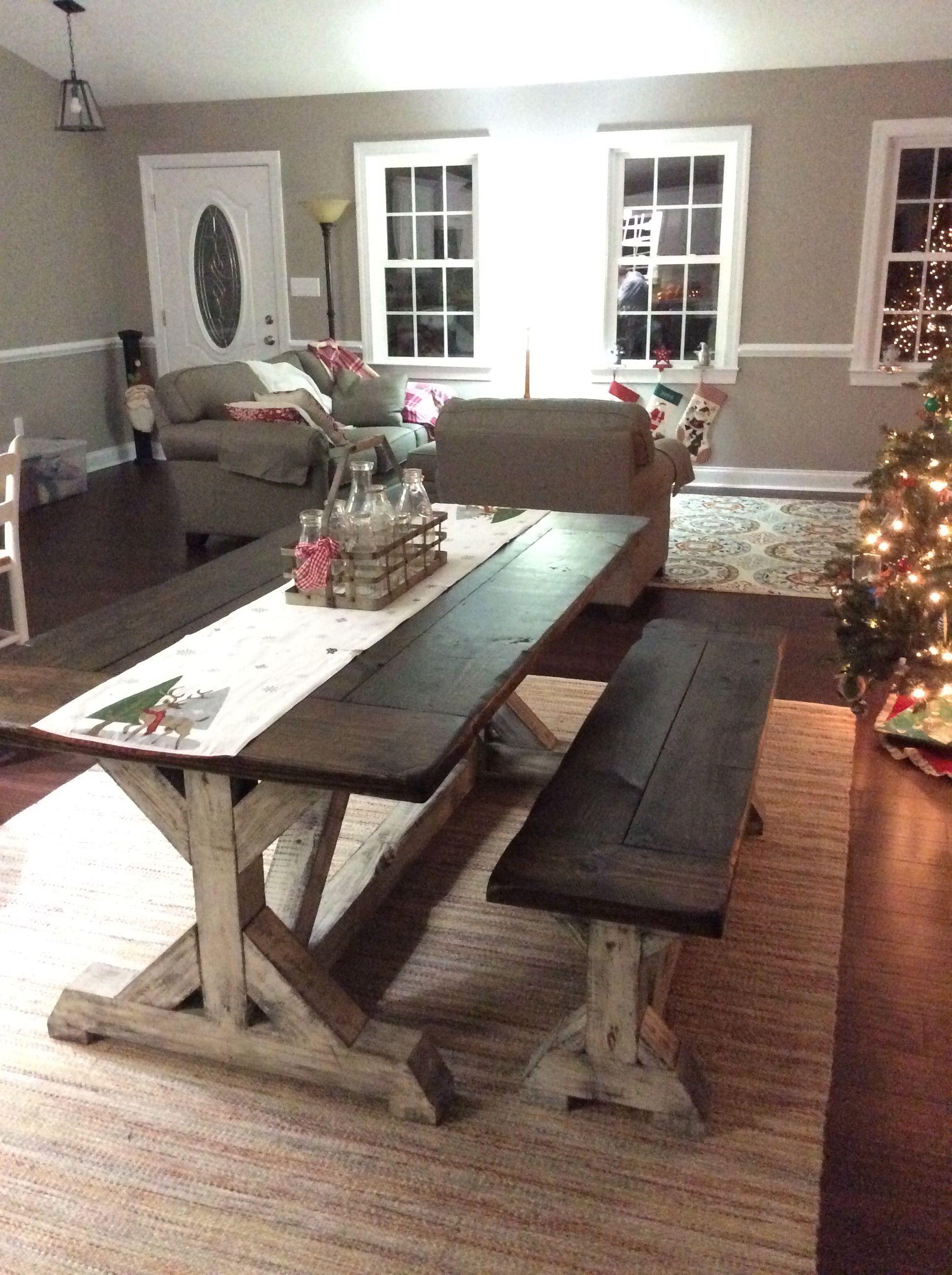 Trestle Farmhouse Table/Bench Set Jacobean Top and