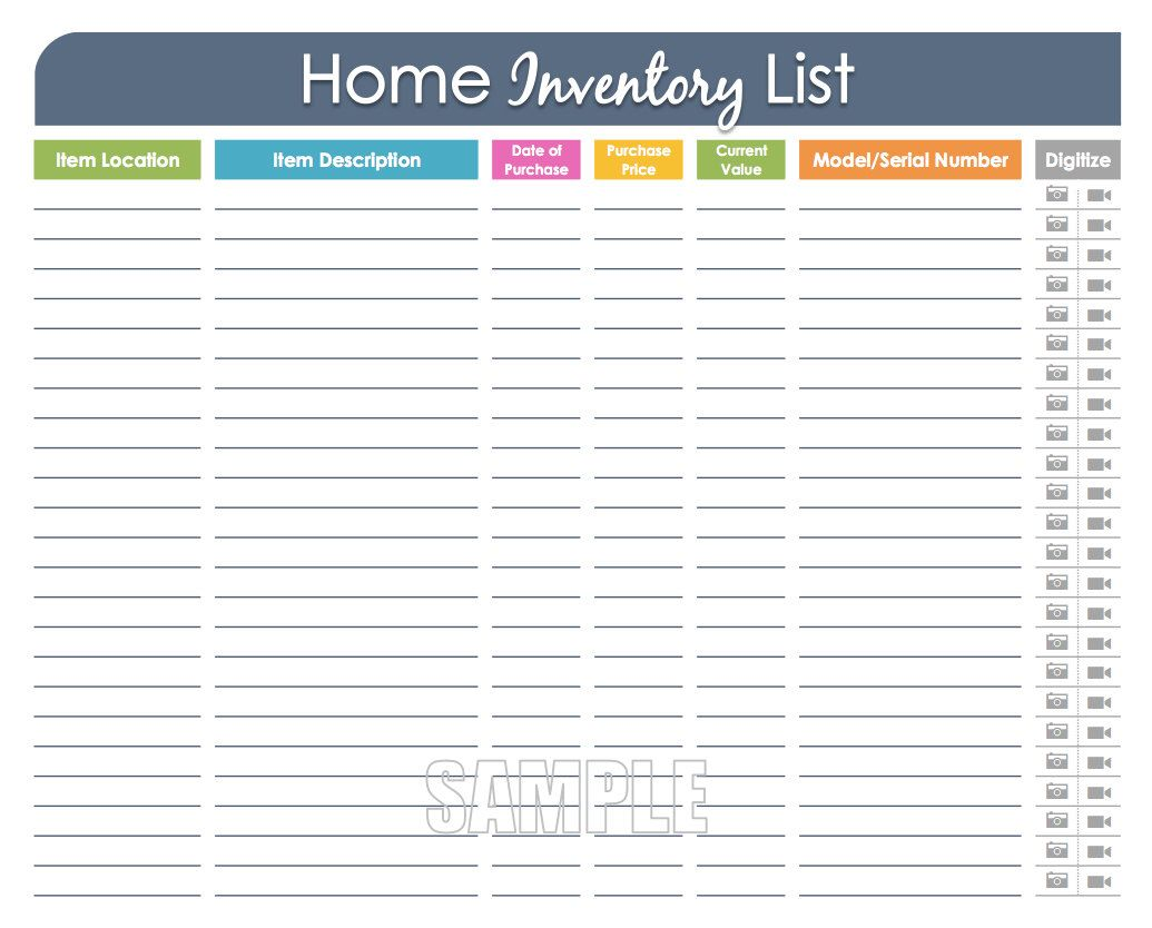 Home Inventory Organizing Printable