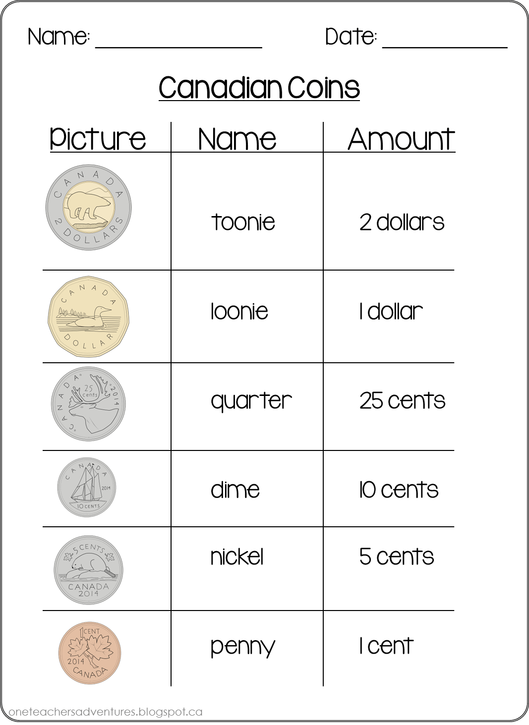 Number Worksheet Color Coin