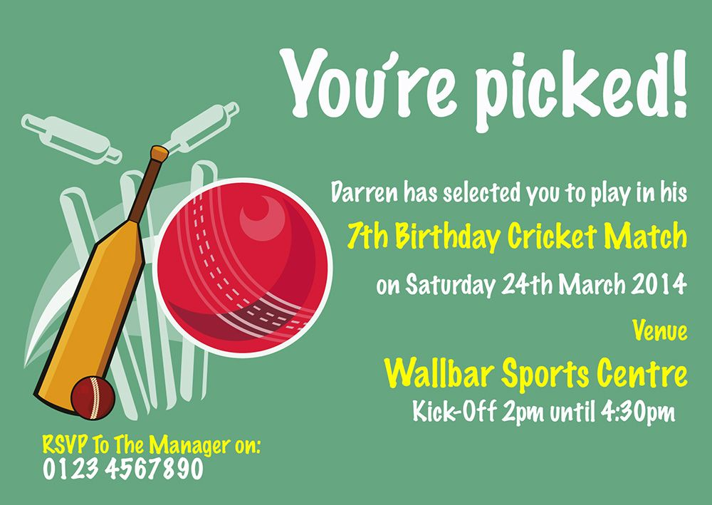 A Personalised Cricket Party Invite Perfect And Unique To