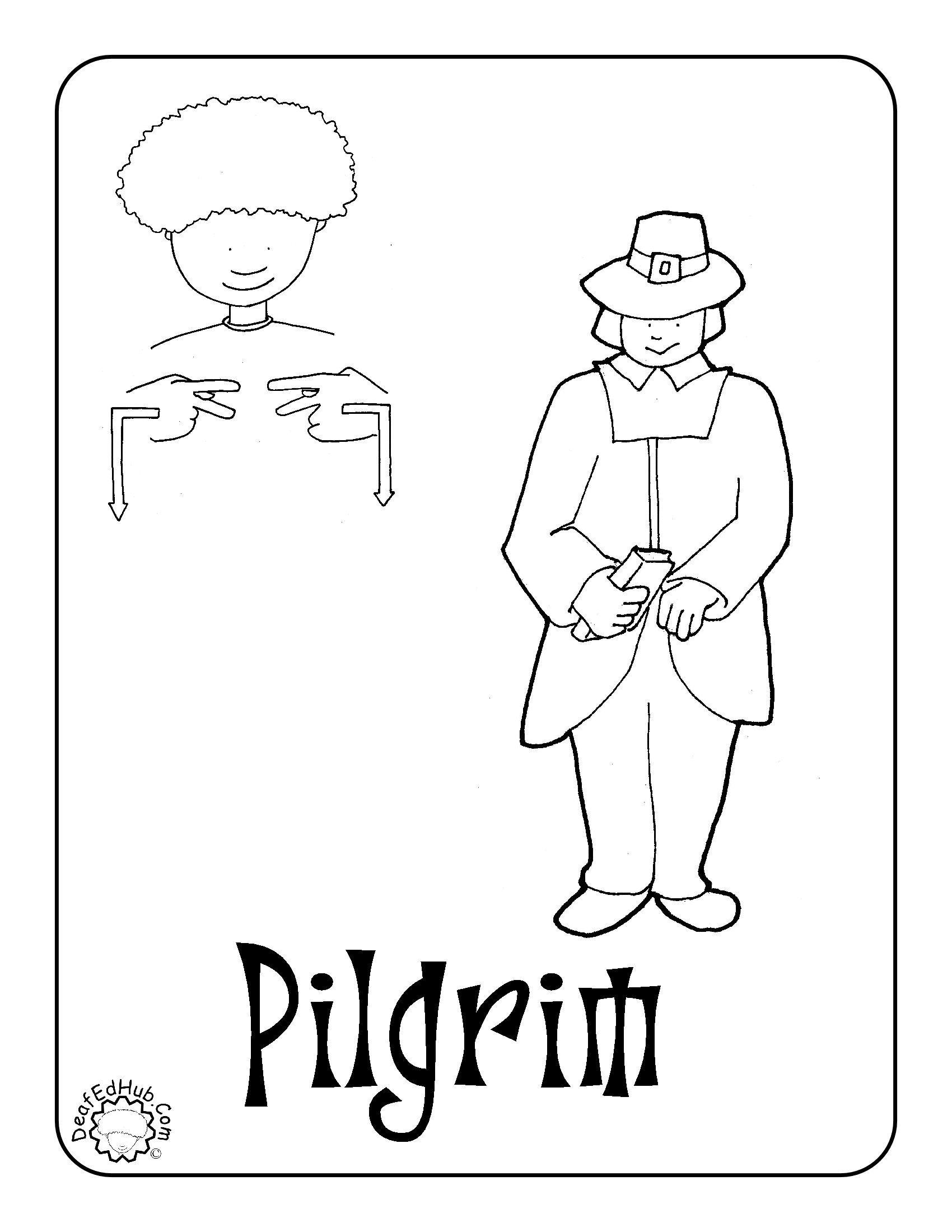 Asl Pilgrim Coloring Page