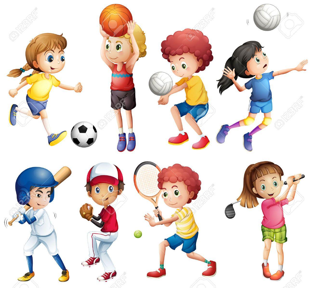 Illustrazione Di Molti Bambini Che Fanno Sport Clipart