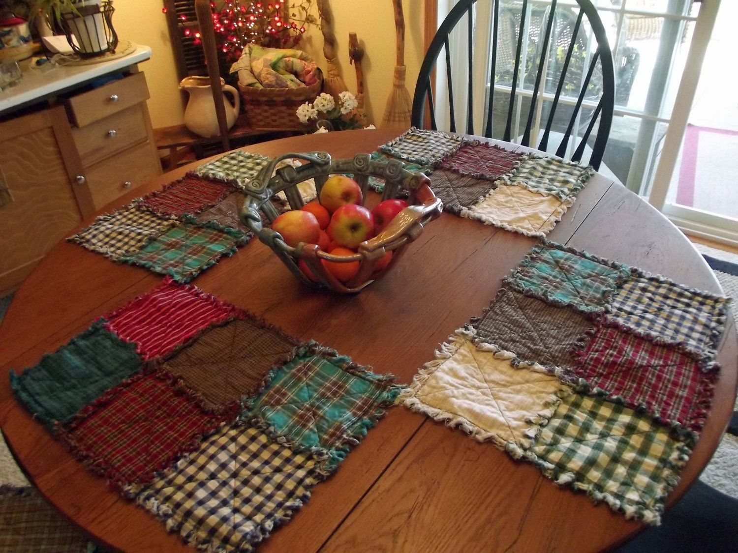 Rustic Rag Quilt Placemats, Rag Quilts, Handmade, MadeTo