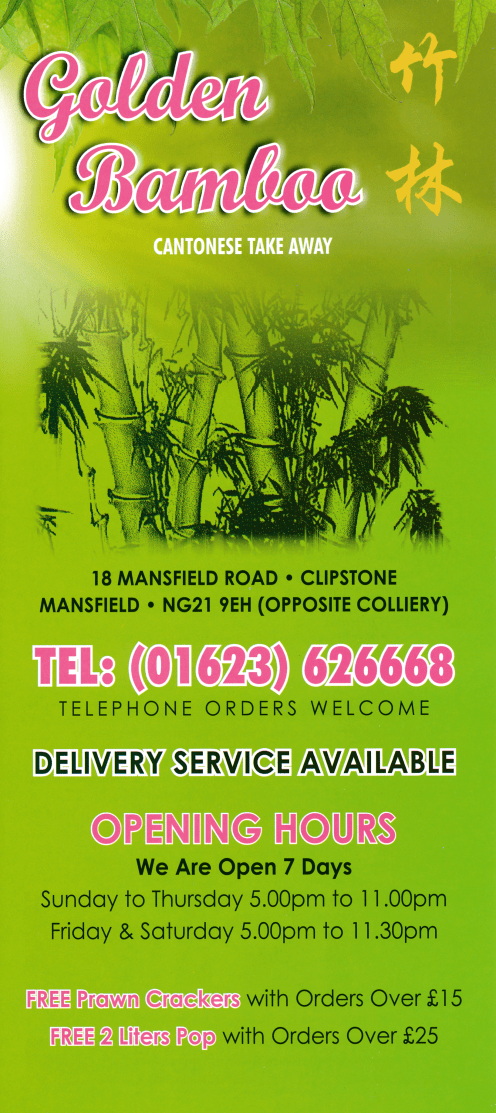 Menu for Golden Bamboo Chinese takeaway on Mansfield Road