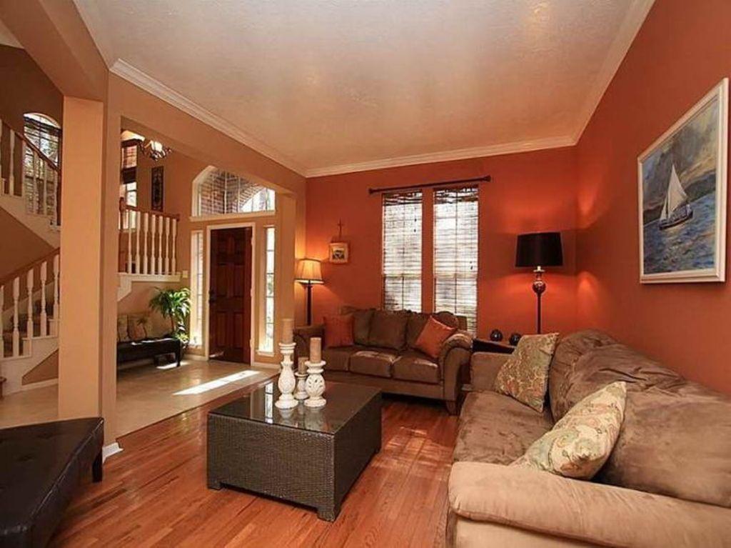 Deep-Orange-Wall-Color-with-Velvet-Beige-Sofa-Set-for