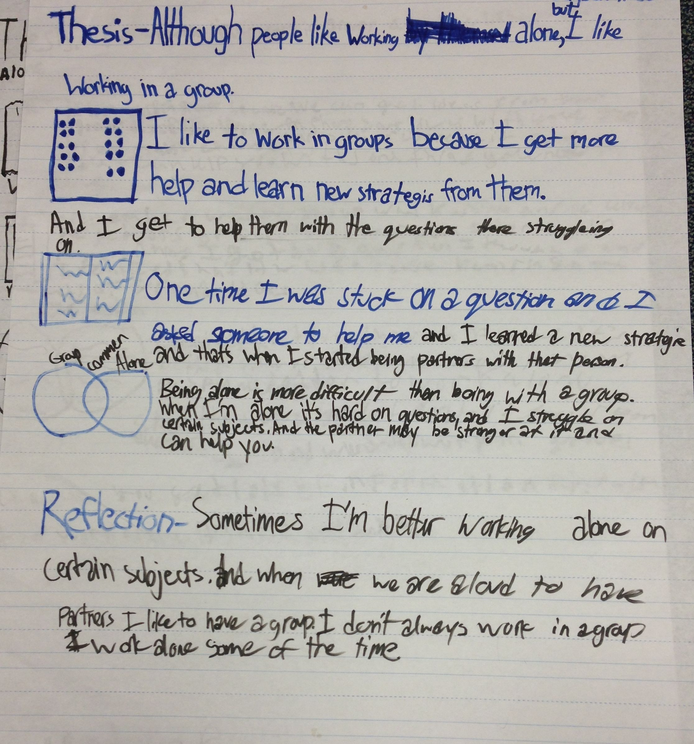 Sample Student Chart With Plan For Expository Writing I
