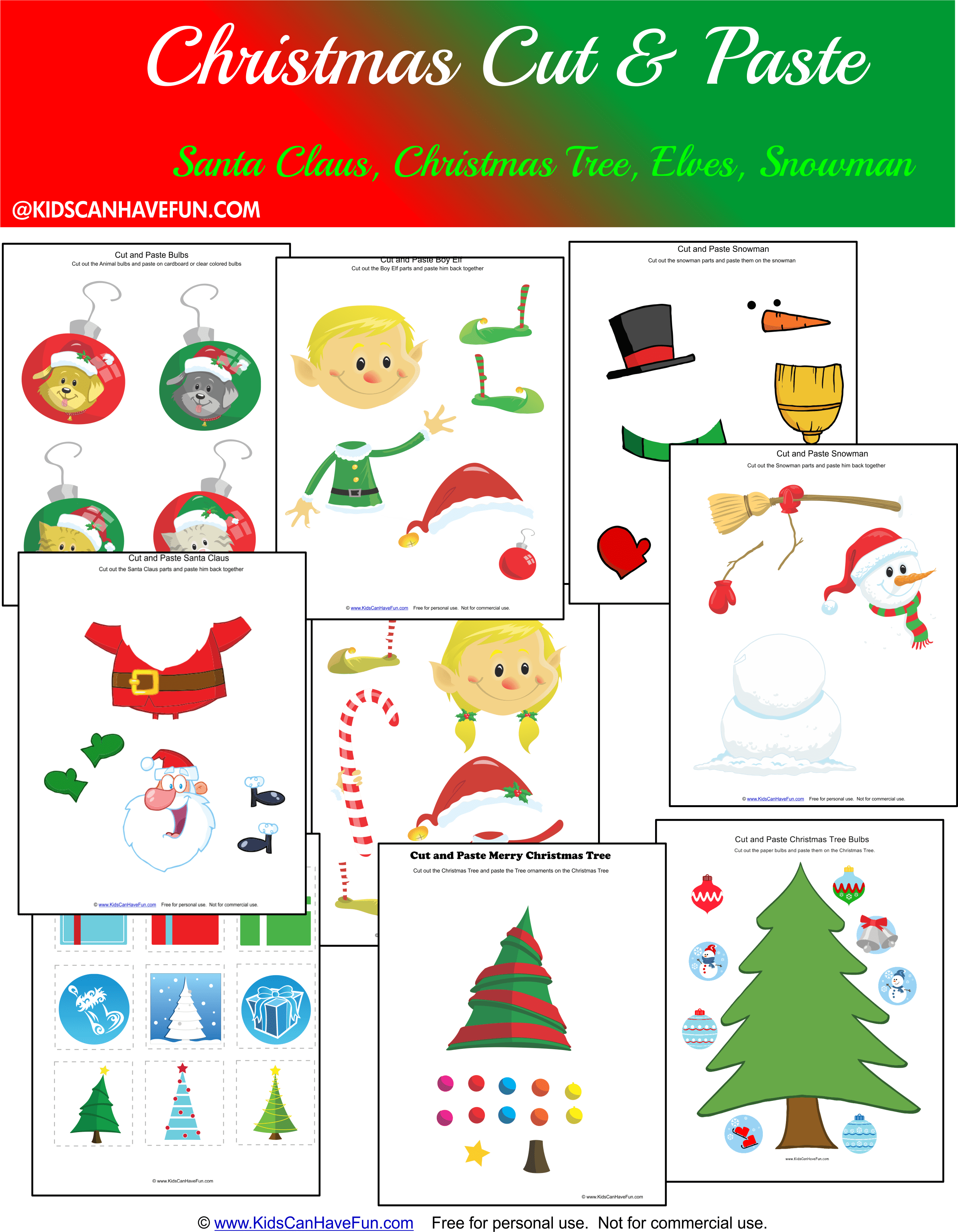 Free Christmas Cut And Paste Worksheets For The Holidays