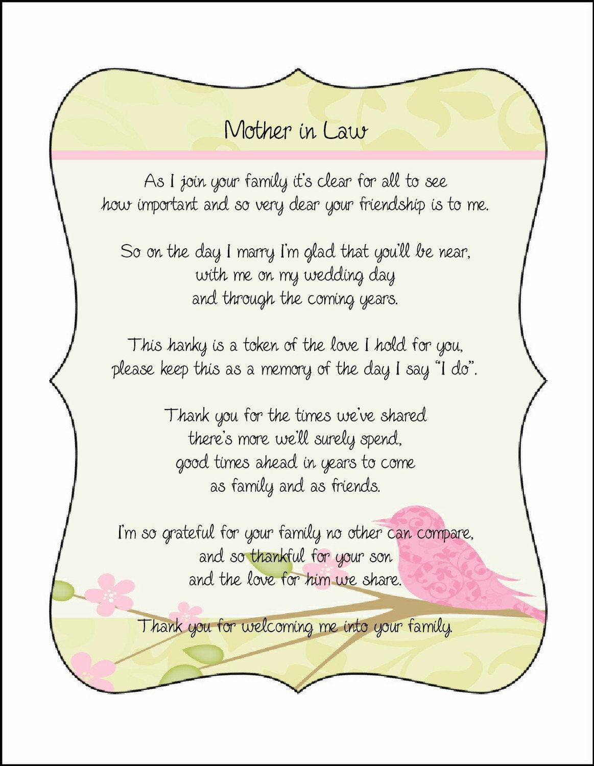 Mother in Law Poem Card from Bride great with embroidered