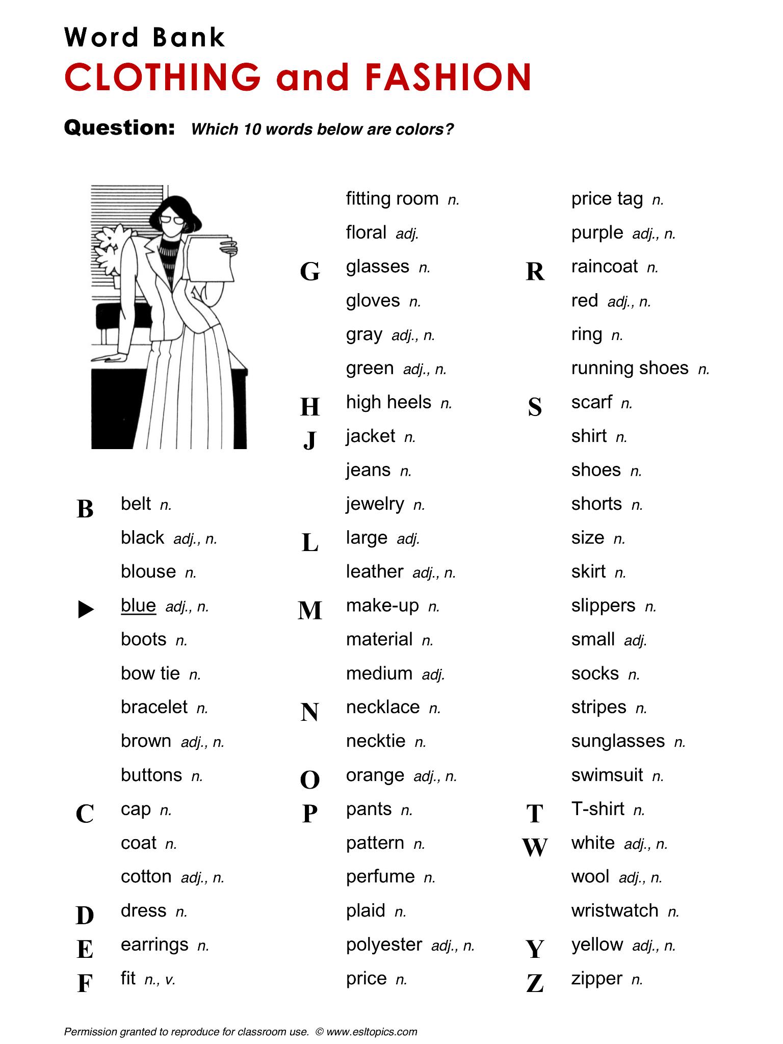 Clothing And Fashion Clothes Vocabulary Esl English