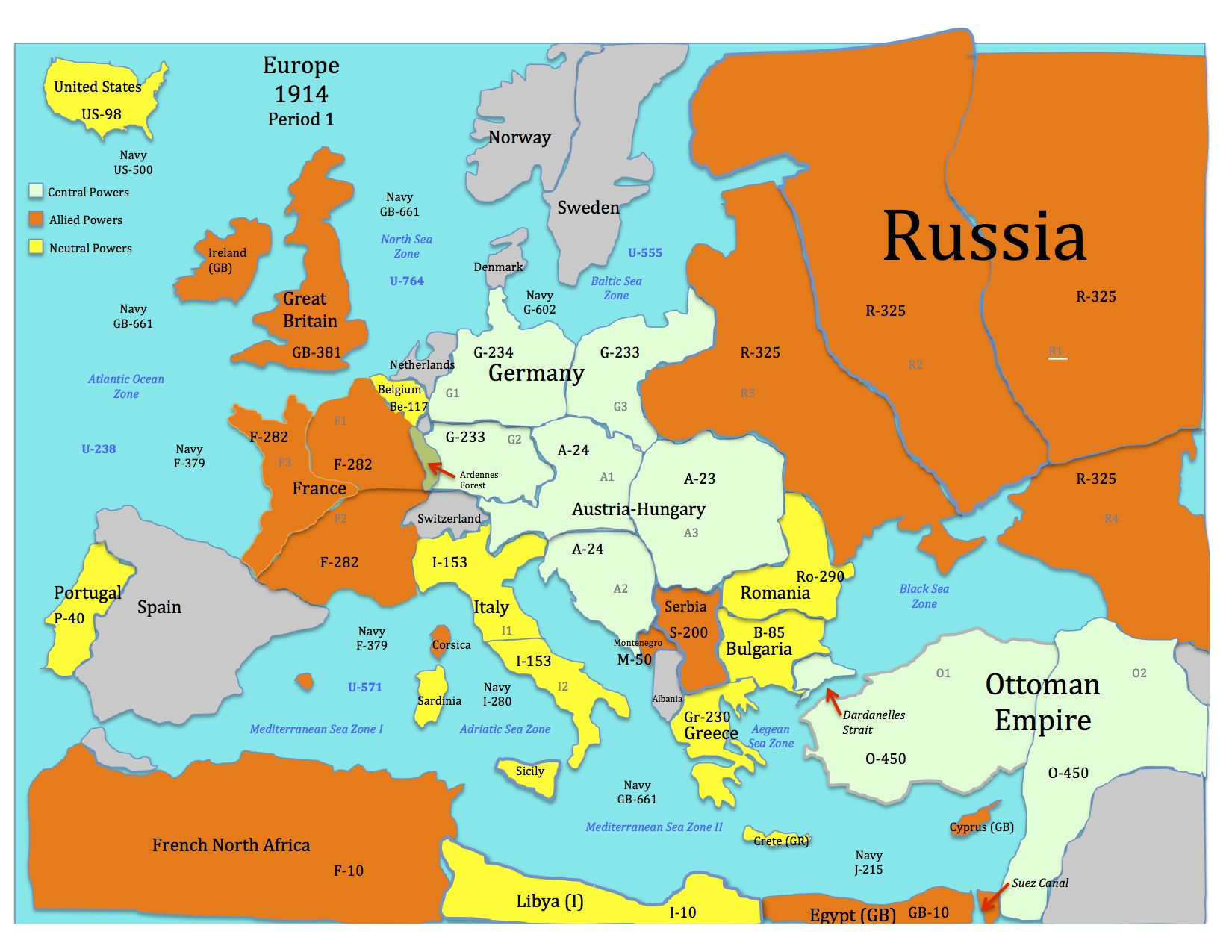 This Is The War Map For The World War One Simulation