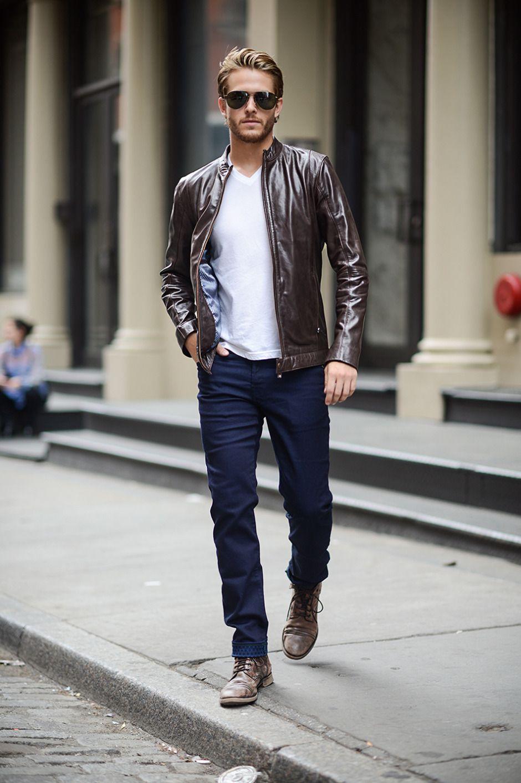 Men's Dark Brown Leather Bomber Jacket, White Vneck T