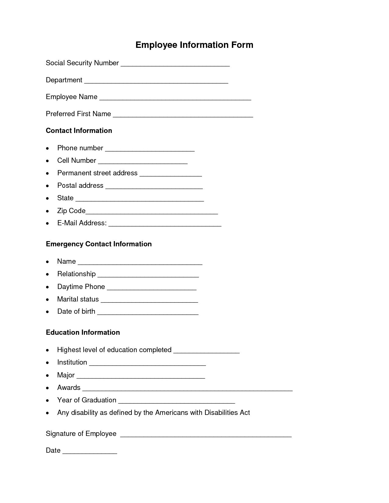 Employment Reference Form Template best photos of sample – Employee Information Form Sample