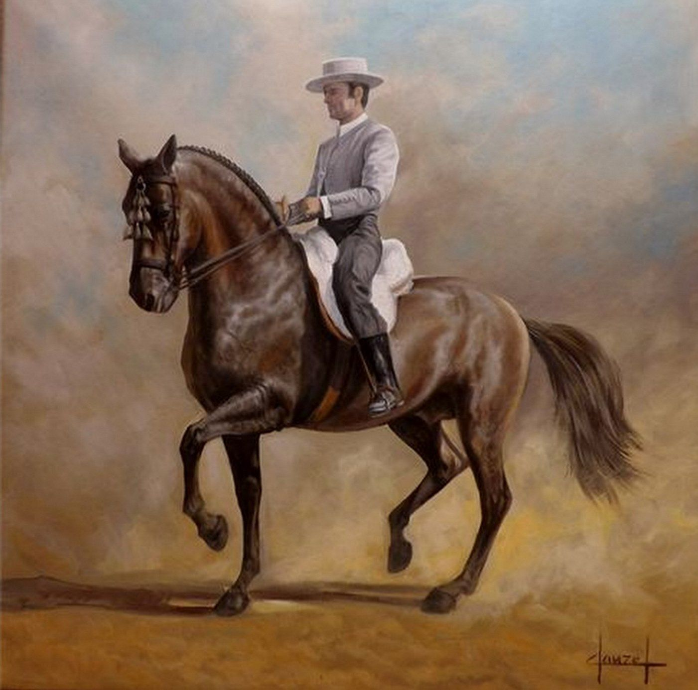 Caballo castaño oscuro de Pura Raza Española o caballo