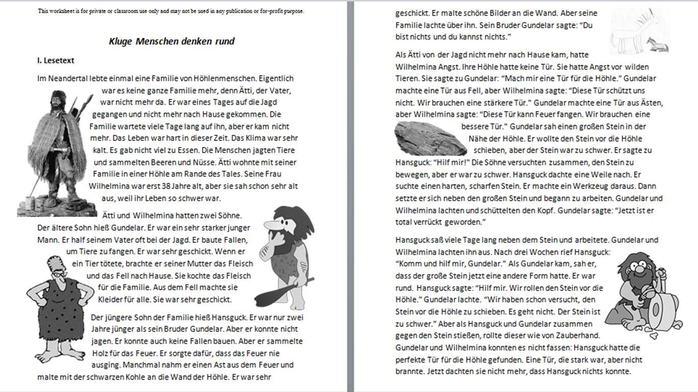 New Reading Comprehension Worksheet About A Fictitious Caveman Family Kluge Menschen Denken