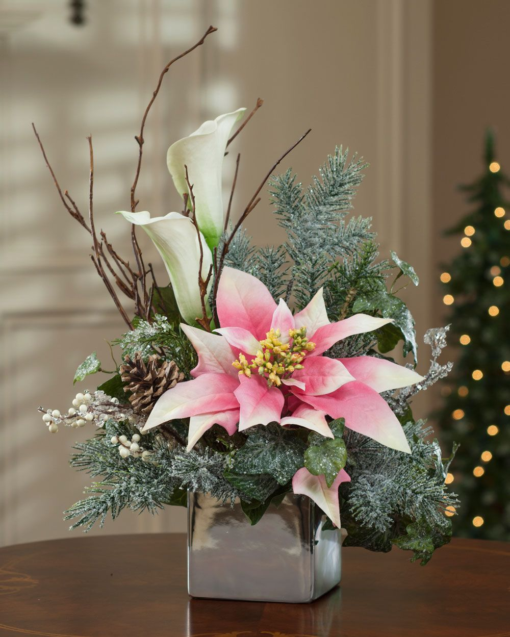 Poinsettia & Calla Lily Silk Flower Arrangement