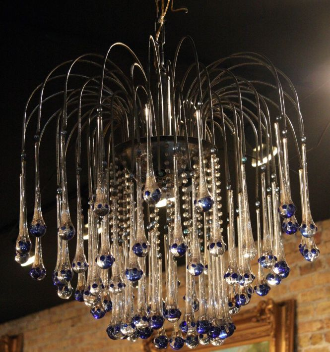 Mid Century Modern French Chandelier With Blue Tipped Glass Drops Sold