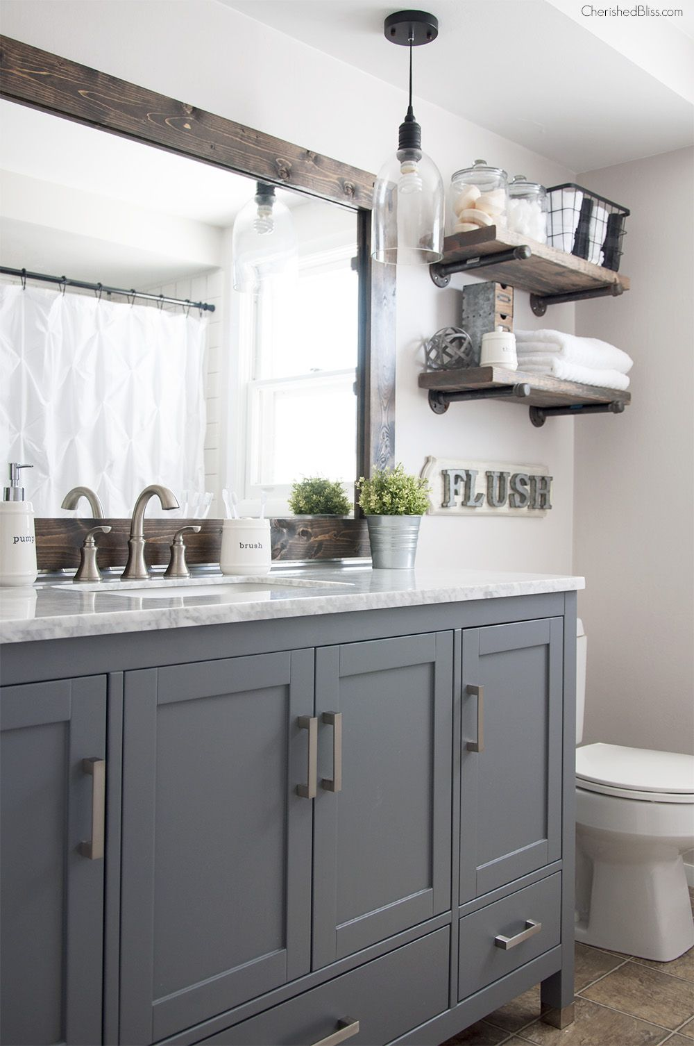 Industrial Farmhouse Bathroom Reveal Industrial