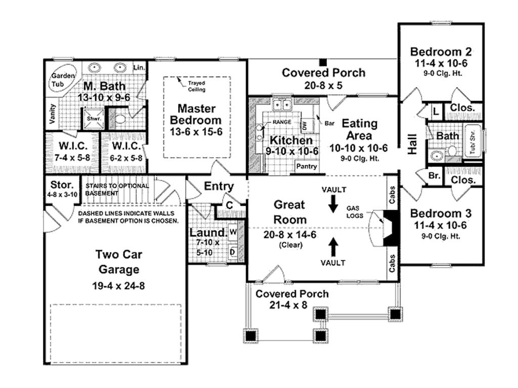 3 Bdrm Sq Feet Open Floor Plan Ranch Craftsman Style Ce