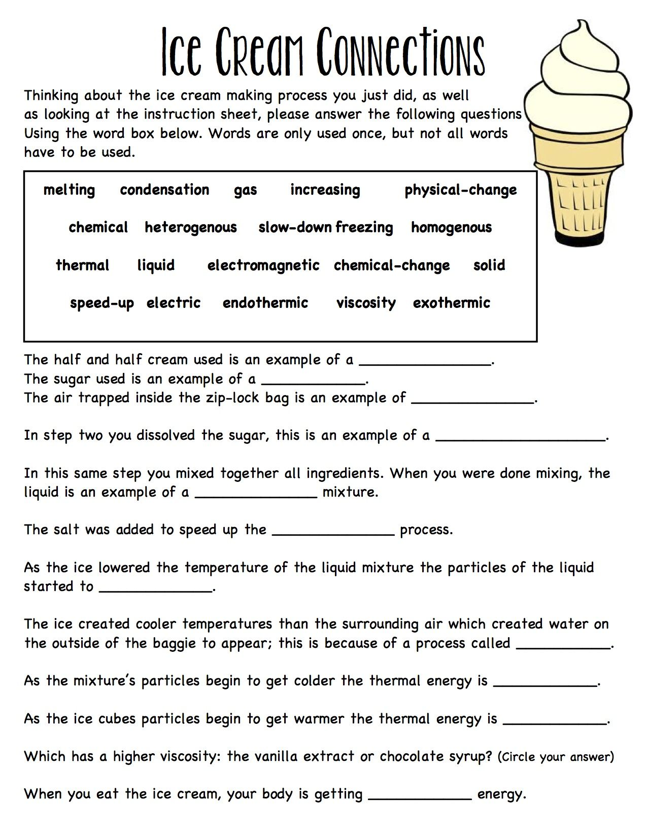 Baggie Ice Cream Worksheet Connecting Ideas Together Solid Liquid Gas Melting Freezing
