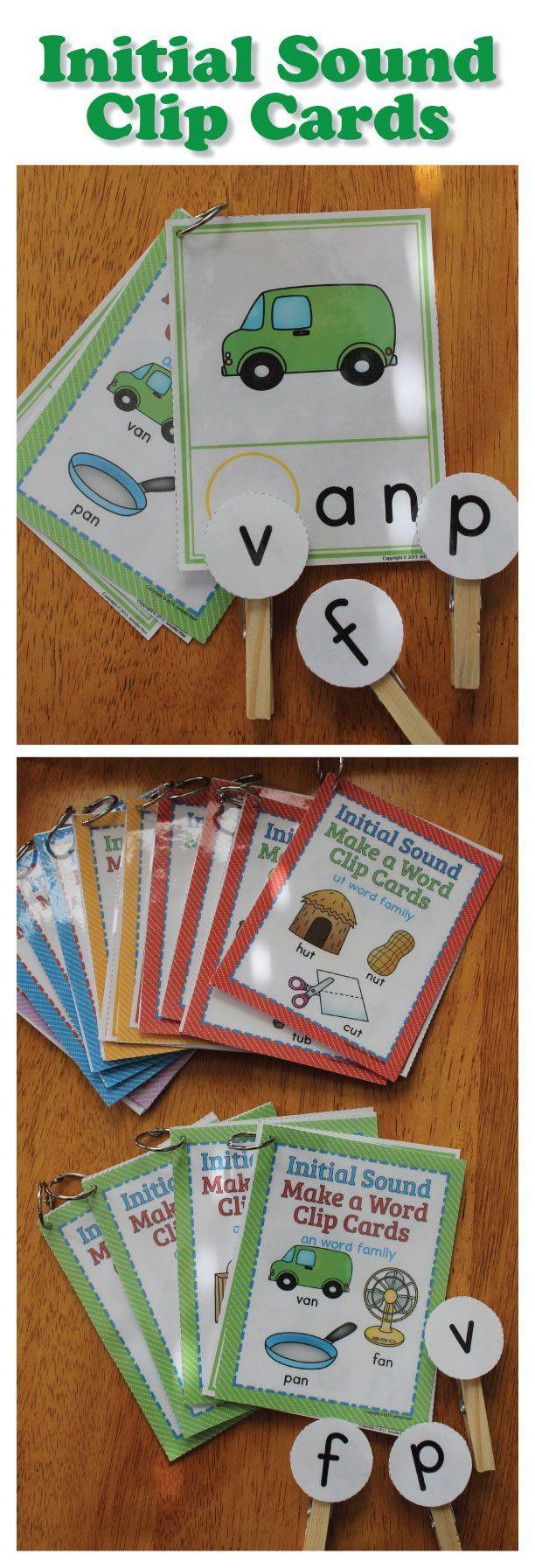 CVC Words Beginning Sound Clip Cards for CVC word