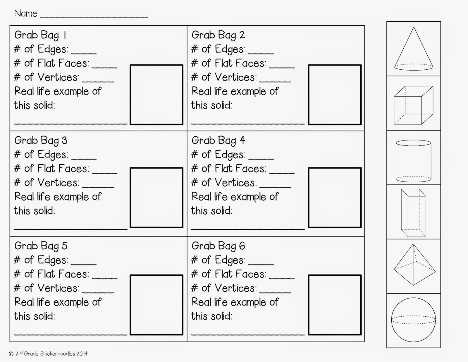 2nd Grade Snickerdoodles Geometric Solids Grab Bag Activity With Free Recording Sheet
