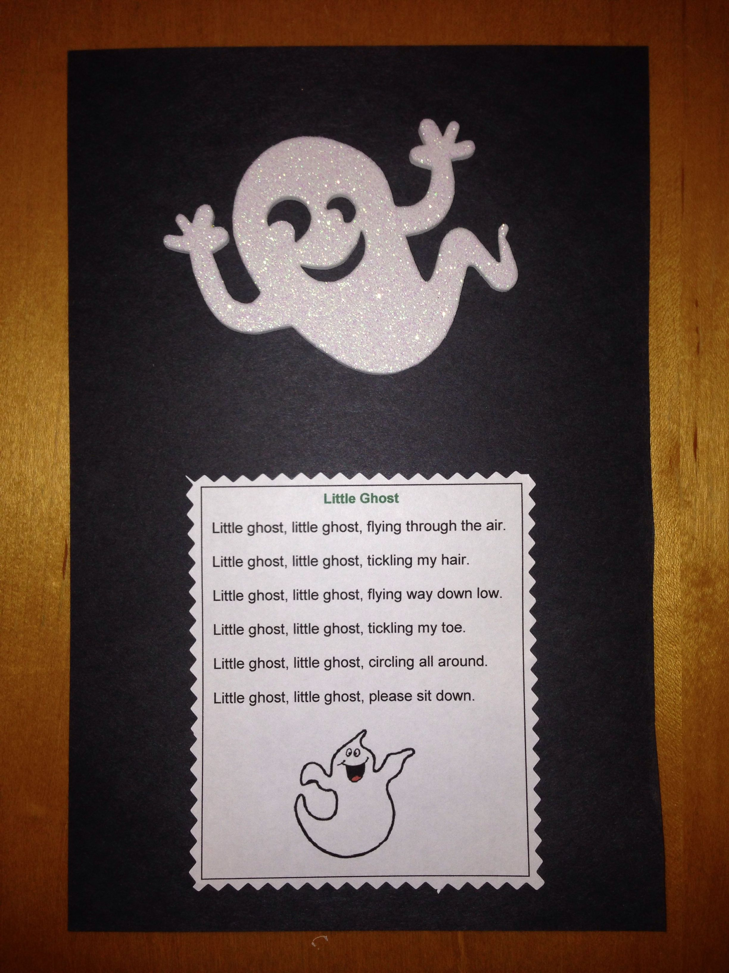 Preschool Ghost Craft And Fun Poem Encouraging Children To