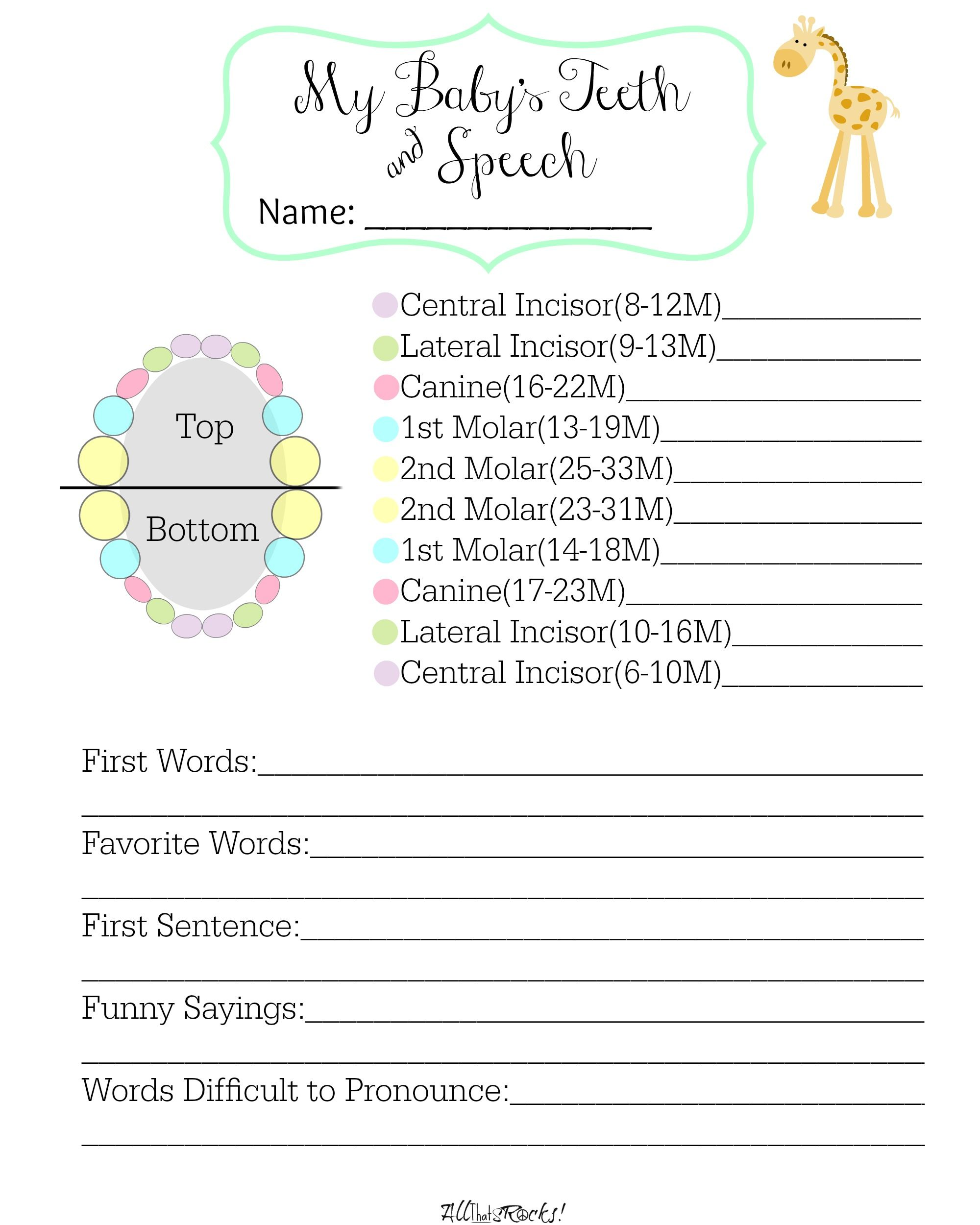 Track Baby S Teeth And Speech With This Free Printable Allthatsrocks
