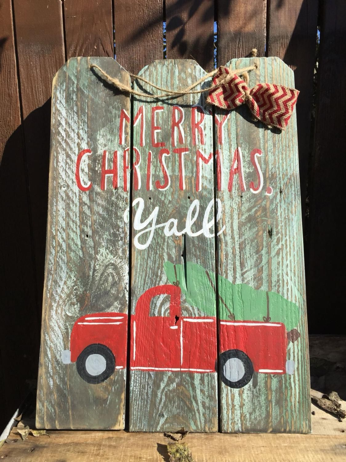 Red truck Merry Christmas y'all wooden sign Craft