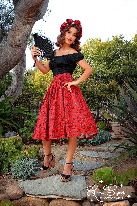 Final Sale Jenny Skirt in Red Vintage Spanish Fan Print