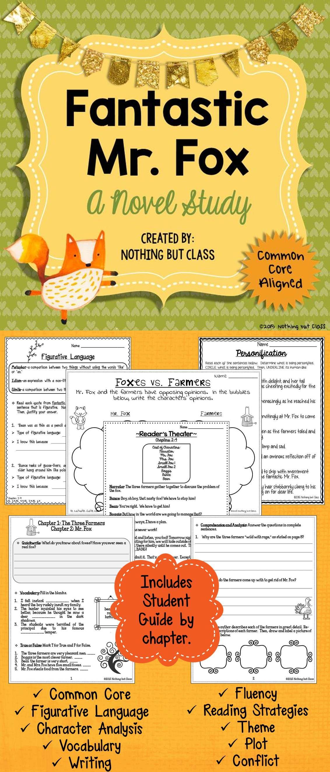 Fantastic Mr Fox Novel Study Unit Comprehension